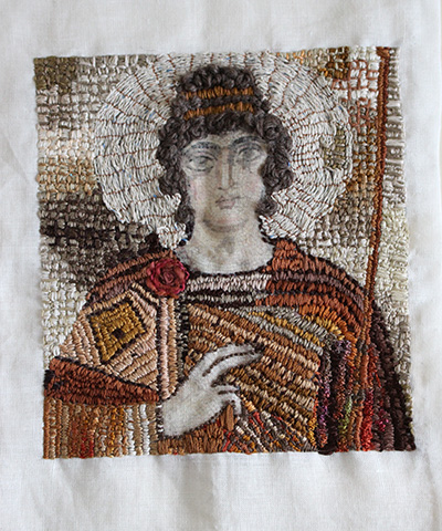 Roman Mosaic Embroidered Portrait Textile Art