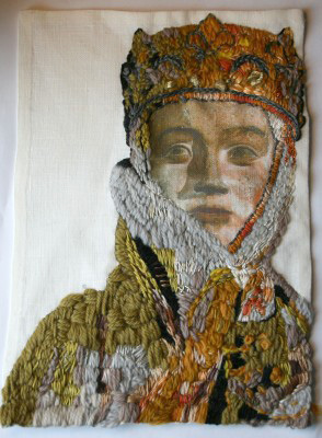 Embroidered Portrait Original Textile Art