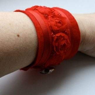 Red Roses Original Textile Jewellery