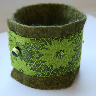 Felt and Lace Green Cuff Original Textile Jewellery