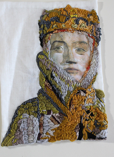 Embroidered Portrait Two Original Embroidered Textile Wall Hanging