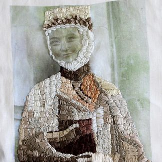 Elegance Embroidered Portrait Textile Art
