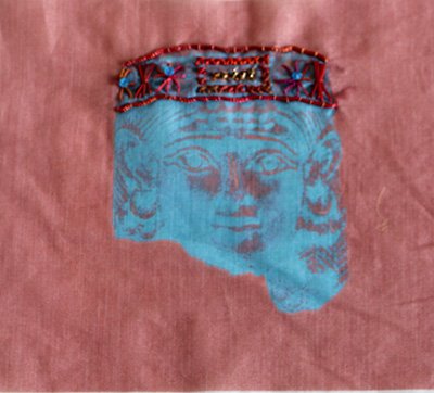 Ancient Queen Blue Embroidered Portrait Textile Art