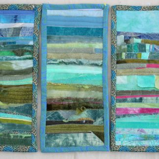 triptych quilted textile art landscapes