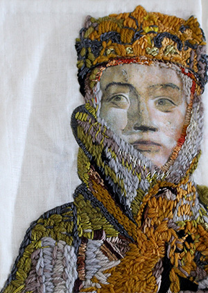 textiles embroidered portrait